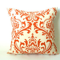 Orange Pillows. Throw Pillow. Pillow Covers. Fall Pillows. Fall Decor. Accent Pillows. Pillows. Damask Pillows