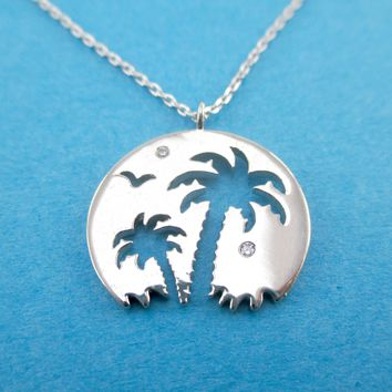 Tropical Island Palm Trees Silhouette Cut Out Shaped Pendant Necklace