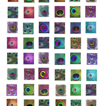 scrabble tile size peacock feather patterns clip art collage sheet .75 x .83 inch