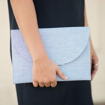 Seersucker Crossbody Bag - Blue