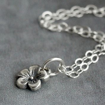 Tiny Sterling Silver Cherry Blossom Necklace by etco on Etsy