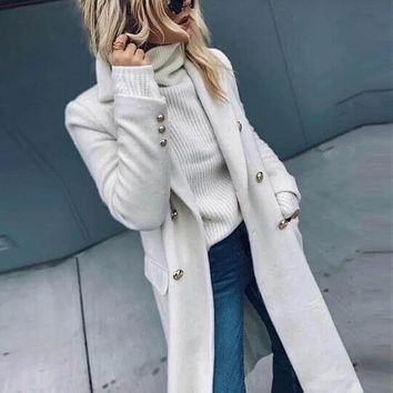 White Double Breasted Over Coat