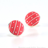 Pink Stud Earrings, Stripes and Dots Earring Studs, Bright Pink White, Fabric Covered Buttons, Silver Toned Earrings, Posts, Jewelry for Her