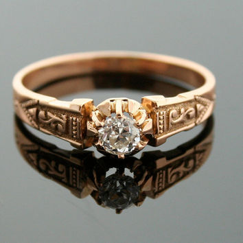 Antique Engagement Ring - Rose Gold and Diamond Ring