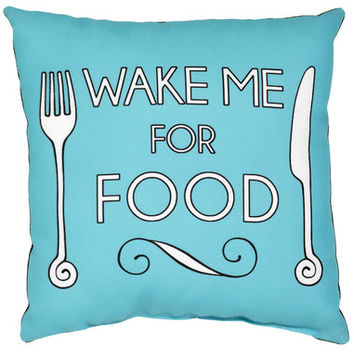 'Wake Me For Food' Cushion Blue - Marcus Butler Shop.com