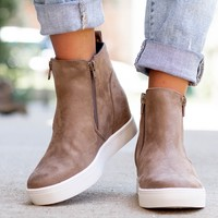 Double Zipper Sneaker Wedges | Taupe