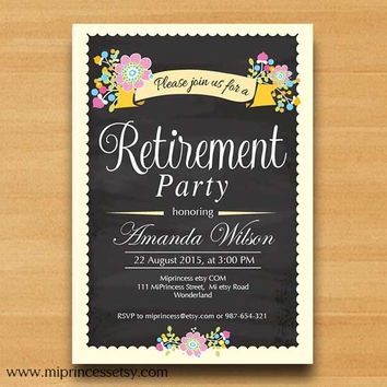 Retirement Invitations,  Retirement party  Retirement Celebration chalkboard shabby chic flowers , three color to choose from - card 572
