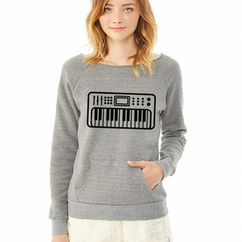 Keyboard piano 2 ladies sweatshirt