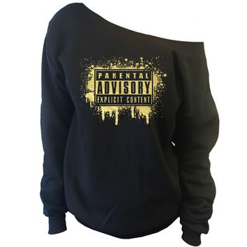 Parental Advisory Paint Splatter Dripping Off-Shoulder Sweatshirt