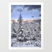 """Mountain light II"". Snowy forest at sunset Art Print by Guido Montañés"