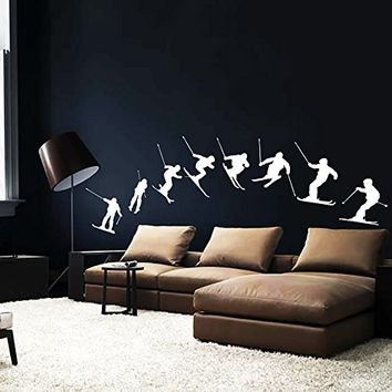 Wall Decal Vinyl Sticker Decals Art Home Decor Murals Decal Skiing Sequence Snow Ski Freestyle Jumping Extreme Sports Kids Children Gift Boy Room Dorm Bedroom AN199