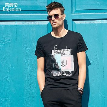 cotton t shirt men 3 color printing clothing o neck short sleeve clothes casual clothing