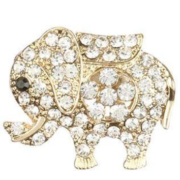 Pave Crystal Stone Metal Elephant Pin And Brooch 34