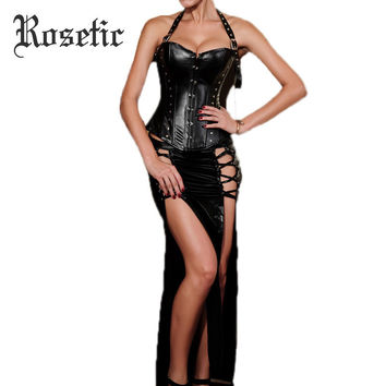 Rosetic Bustier Corsets Zipper Female Halter Lace-Up Sexy Belts Black Corset Sexy Gothic Underbust Women Fashion Summer Corsets