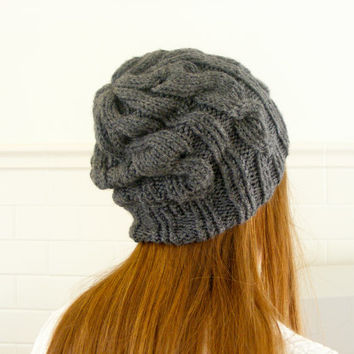 Gray Cable Knit Beanie, Slouchy Knit Hat, Chunky Hipster Toque