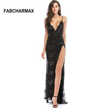 black maxi spaghetti strap backless high slit sequins slip long dress