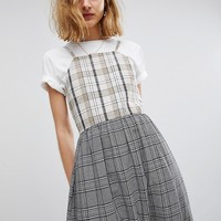 Reclaimed Vintage Inspired Mixed Check Smock Midi Dress at asos.com