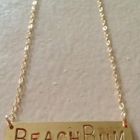 Kate Davis Jewlery MER Bar Beach Bum Necklace Gold
