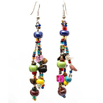 Beach Bead Earrings of Guatemala - Multi - Lucias Imports (J)
