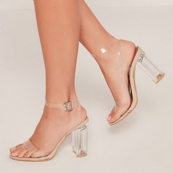 Missguided - Clear Perspex Block Heeled Barley There Sandals