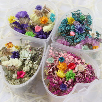 1 Box Mixed Dried Flowers Nail Art DIY Glass Bottle Decor Preserved Flower With Heart-Shaped Box Nail Art Decorations