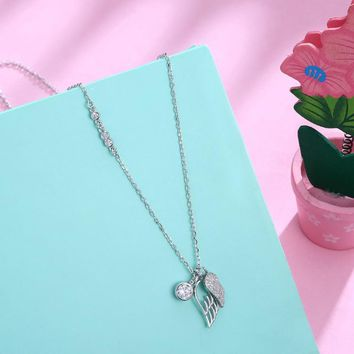Swarovski Crystal 18K White Gold over Sterling Silver Wings of an Angel Necklace