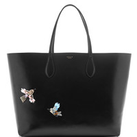 Large Black Leather Tote With Bird Embellishment