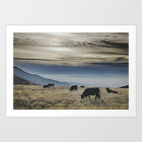 Wild bulls at the mountains. Retro Art Print by Guido Montañés