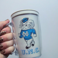 Vintage North Carolina Tarheels Plastic Mug 1990
