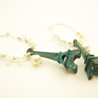 Verdigris Earrings Eiffel Tower Paris Summer Vacation