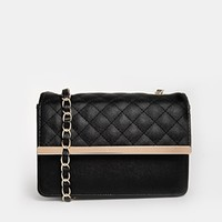 ASOS Quilted Cross Body Bag with Metal Bar and Wrapped Chain Strap