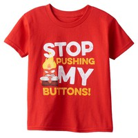 Disney / Pixar Inside Out Anger ''Stop Pushing My Buttons'' Graphic Tee - Boys