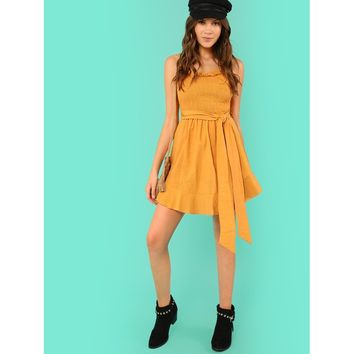 Shirred Panel Frill Trim Dress