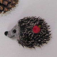 Felted Brooch Hedgehog