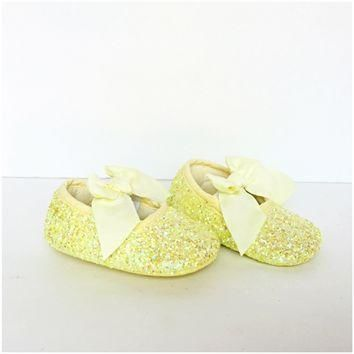 yellow glitter baby shoes flower girl shoes  number 1