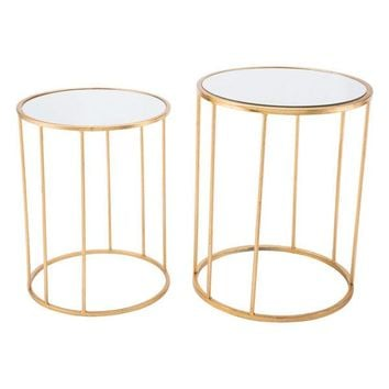 A10762 Finita Set Of 2 Nesting Round Tables Gld