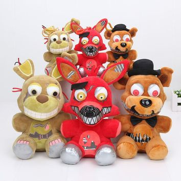 3pcs/lot  At Freddy plush toys  nightmare freddy bonnie foxy plush stuffed animal pendant doll toys 25cm 15cm