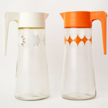 Retro 1960s Anchor Hocking Juice and Milk Pitchers Mid Century Breakfast