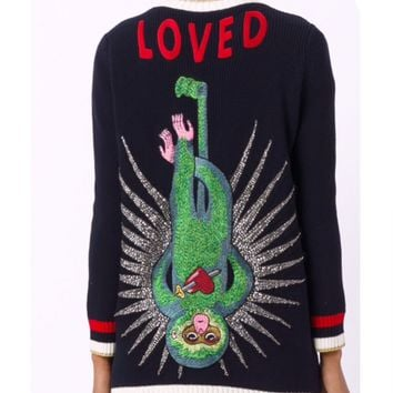 """""""GUCCI"""" oversized navy cardigan embroidered monkey"""