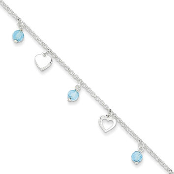 925 Sterling Silver Blue Glass Bead Assorted Hearts Ankle Bracelet