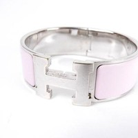 Auth HERMES Clic Clac GM H Bangle Bracelet Enamel Pink Silver Plated A-5928