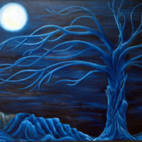 Blue tone Original art Oil painting on gallery wrapped stretched canvas large size signed and dated