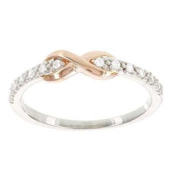 10k Rose Gold and Sterling Silver Diamond Infinity Ring