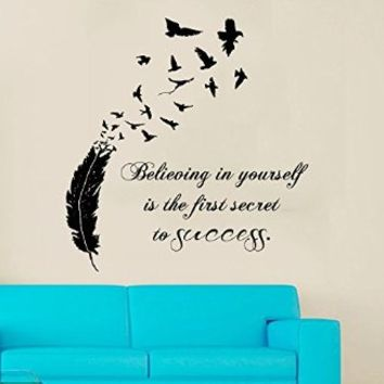 Wall Decals Vinyl Decal Sticker Quote Believing in Yourself Is the First Secret to Success Interior Design Flying Birds Feather Nib Bedroom Living Room Decor