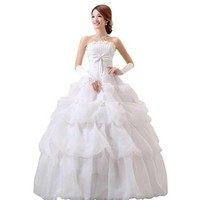 jeansian Women White Strapless Formal Wedding Dress Prom Gown Shirt Tops WVA013