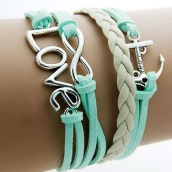 Double Infinity Multilayer Anchor Love Bracelet -Handmade