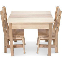 Melissa & Doug Wooden Table and 2 Chairs Set Kitchen New Free Gift Decor