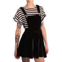 Hearts & Bows Black Cliff Velvet Pinafore Dress