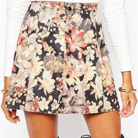 Fashion Union Floral Printed Faux Suede Button Through Mini Skirt