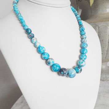 Summer Jewelry, Blue Acrylic Beaded Necklace, Choker Necklace, Blue Necklaces, Round Beaded Necklace, Blue Choker, Turquoise Beaded Necklace